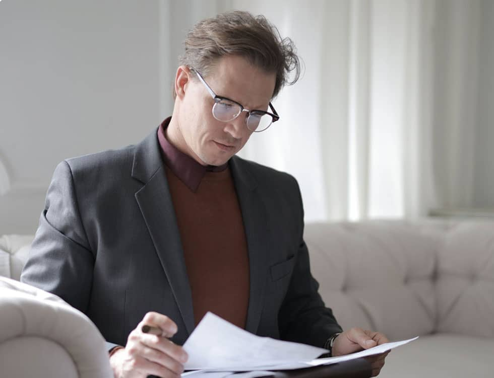 Lawyer reading documents